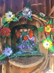 Whimsical Tiny House Stained Glass Window