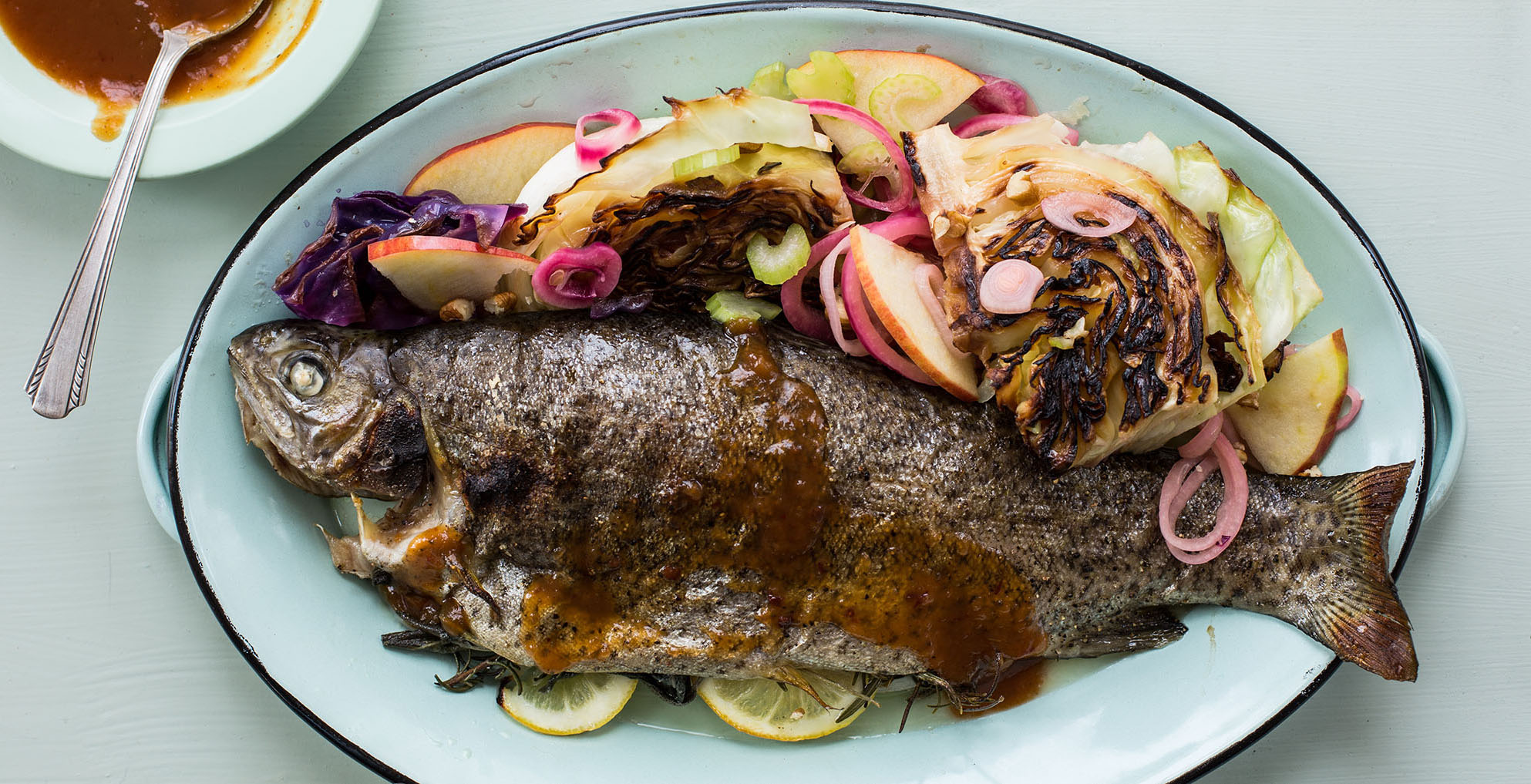 Whole Trout with Charred Apple Slaw