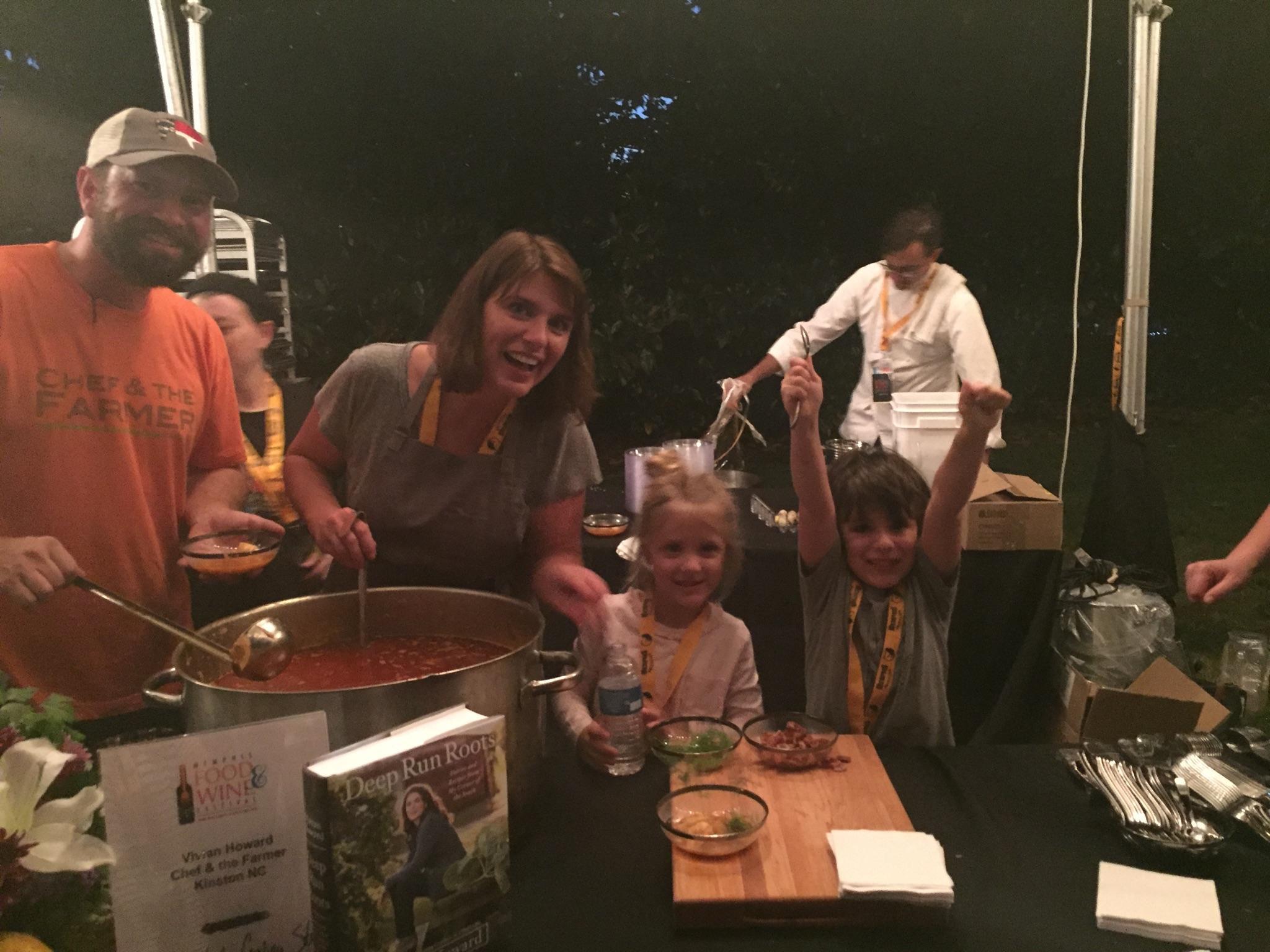 Theo, Flo, Casey & me serving shrimp stew in Memphis, TN