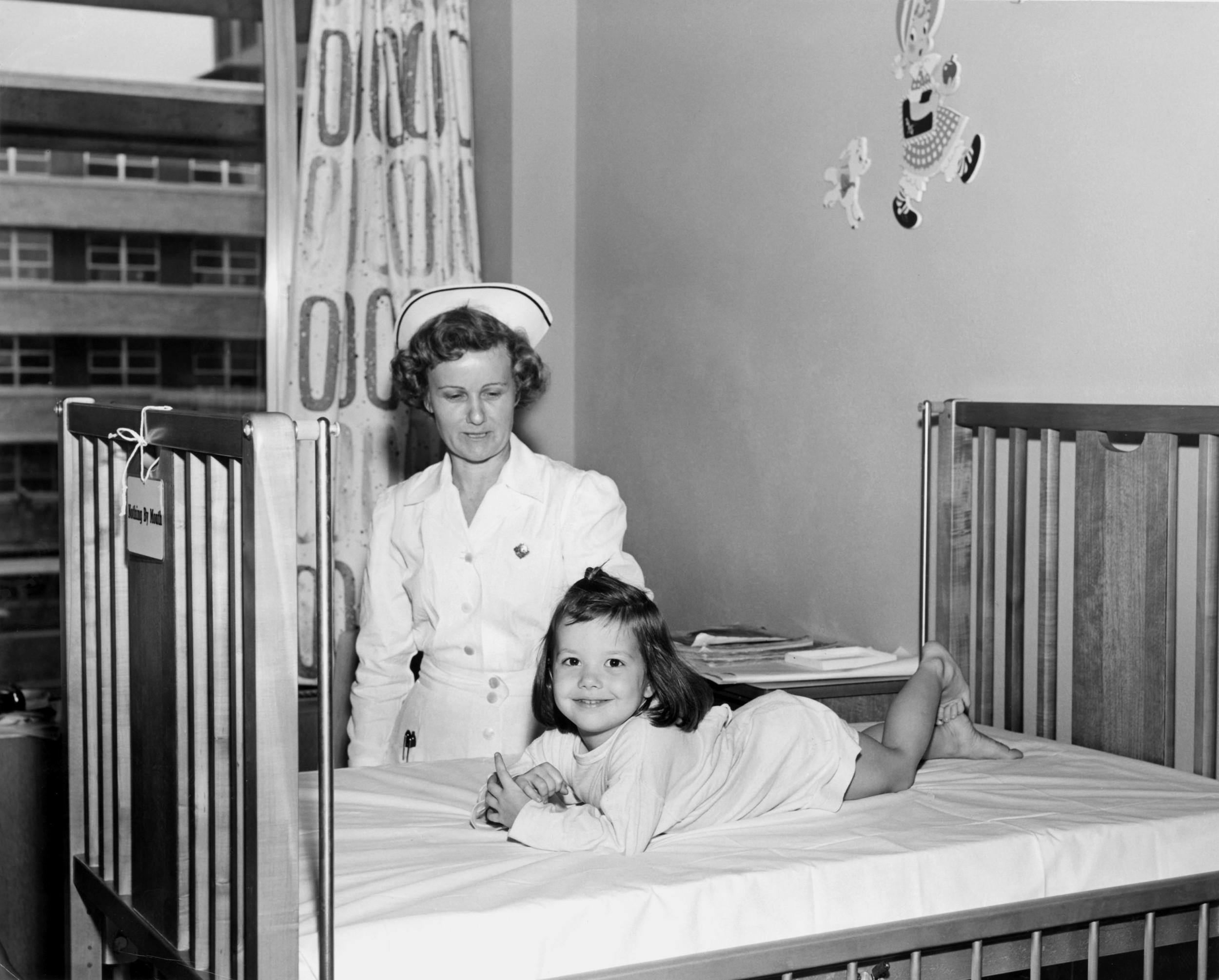 Texas Children's first patient, 3-year-old Lamaina Leigh Van Wagner, in 1954.