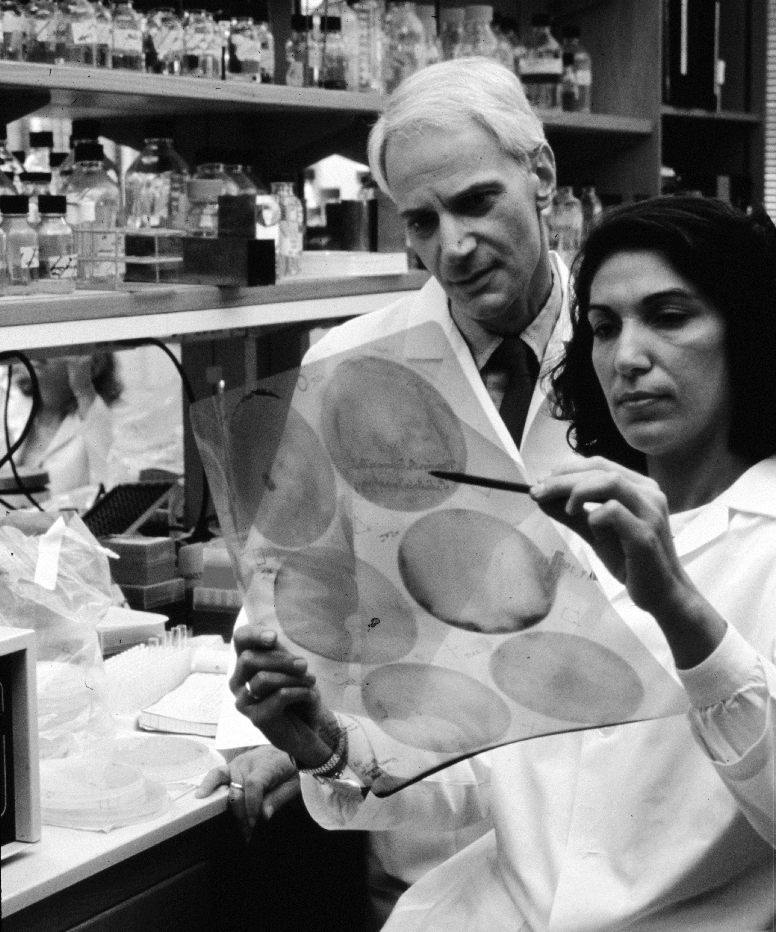 Dr. Marvin Fishman with Dr. Huda Zoghbi in her lab. In 1999, Dr. Huda Zoghbi identified the defective gene, MECP2, that causes Rett Syndrome.