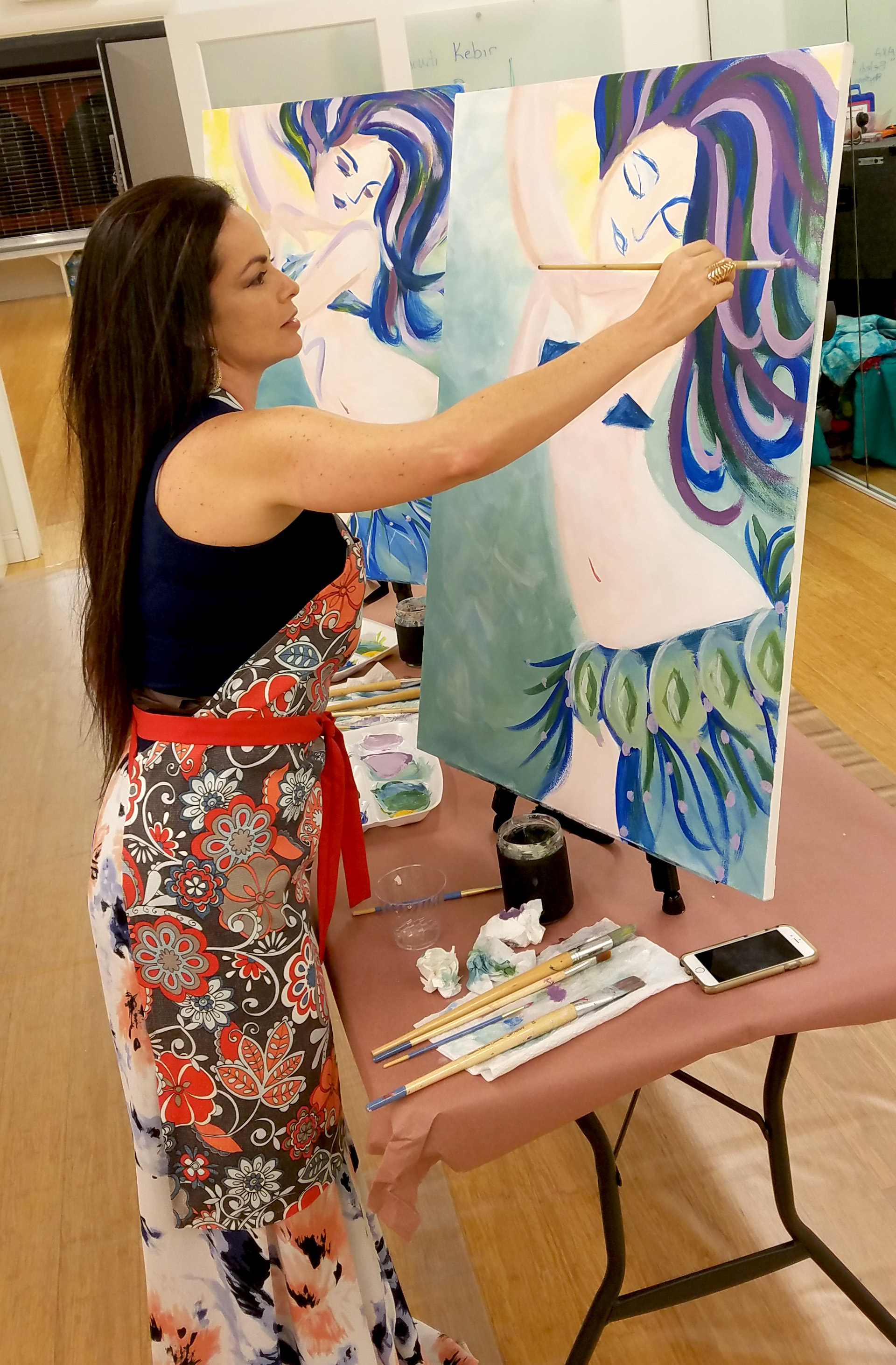 Student Painting a Belly Dancer