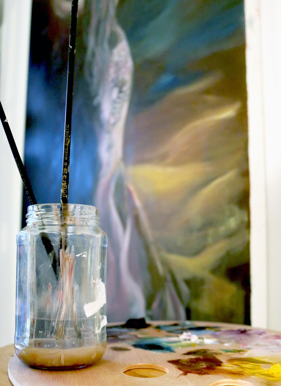 progress painting closeup