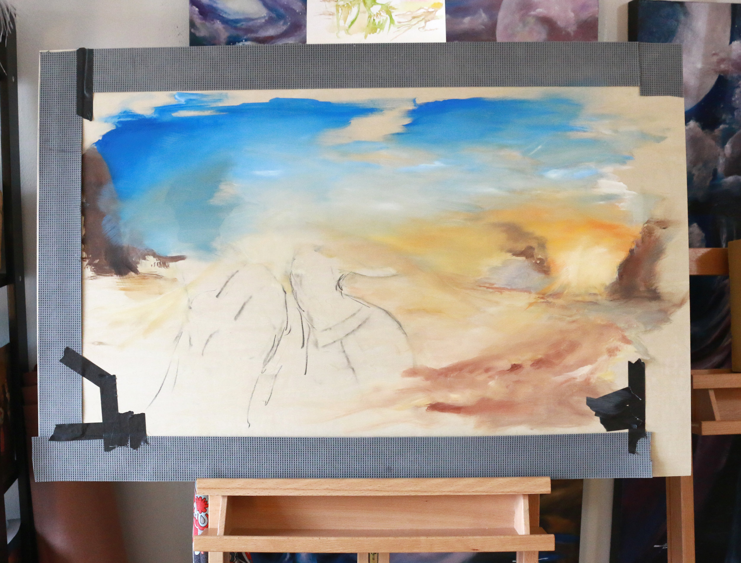 """Image take on the first round of this painting! This is the very beginning stages of the """"Mommy and Me"""" Belly Dance commission I'm excited for! Dancing together towards the sun.... :D"""