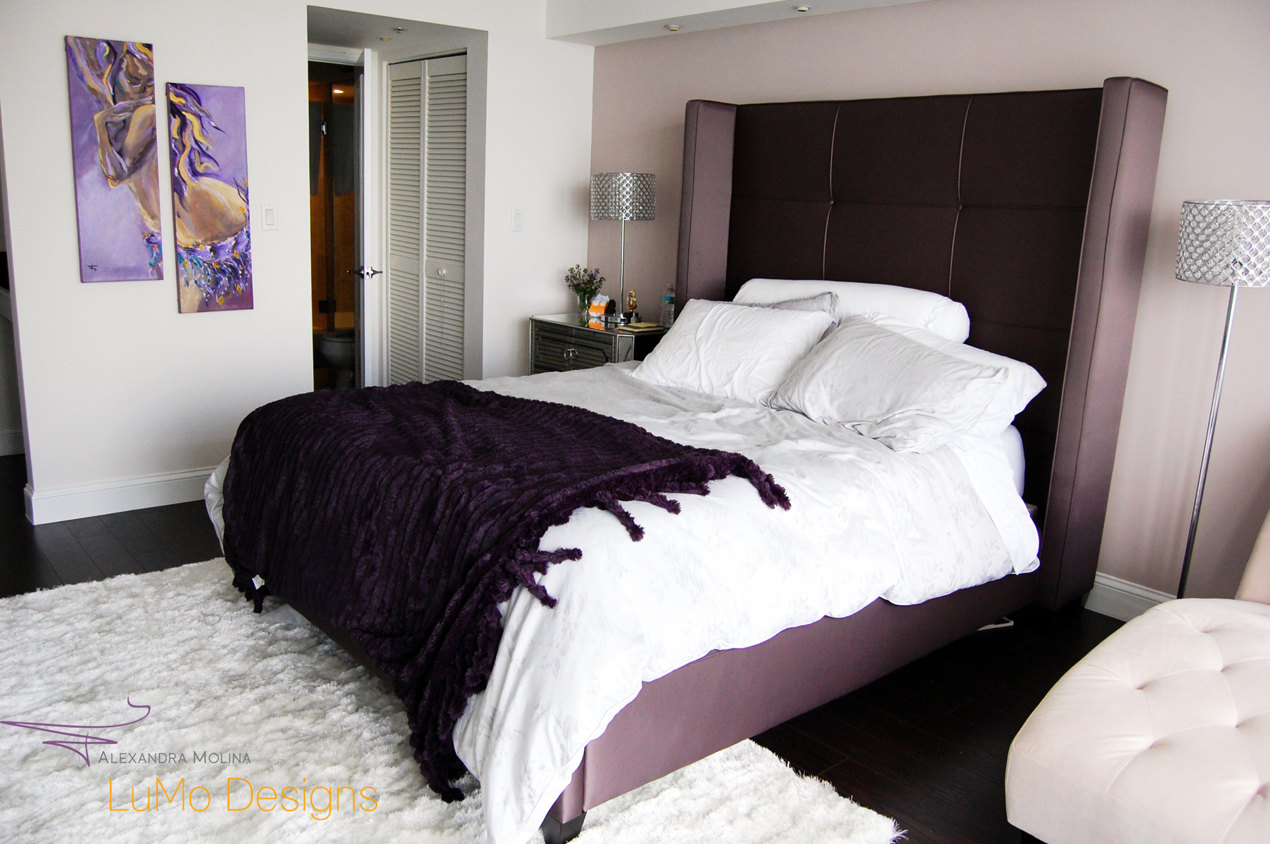 Purple Belly Dancer in bedroom