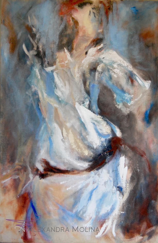 Fifi Abdo,  2012   Oil on burlap  38 x 58 inches  Sold - Private Collection