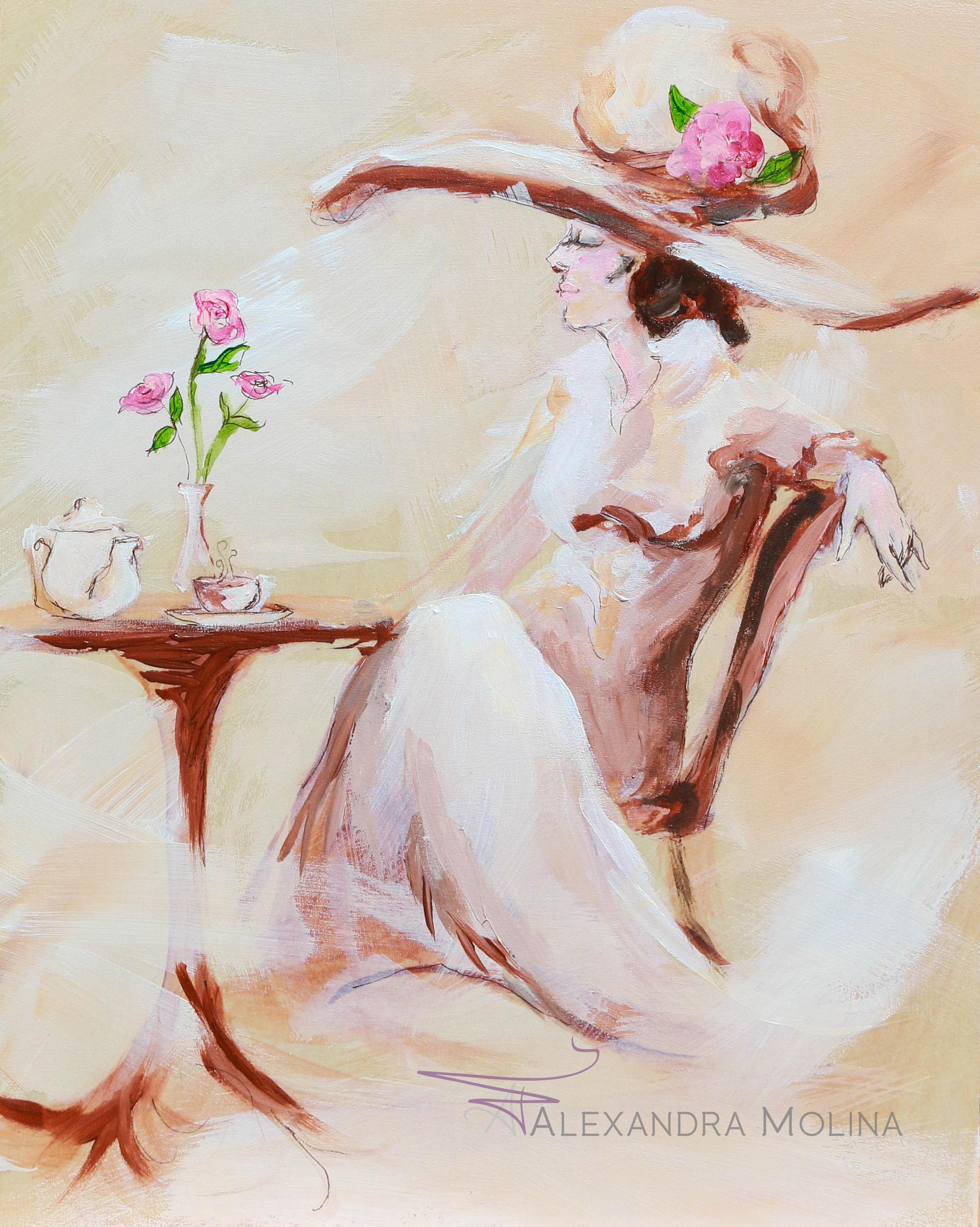 Tea Time, 2017  Acrylic on wood