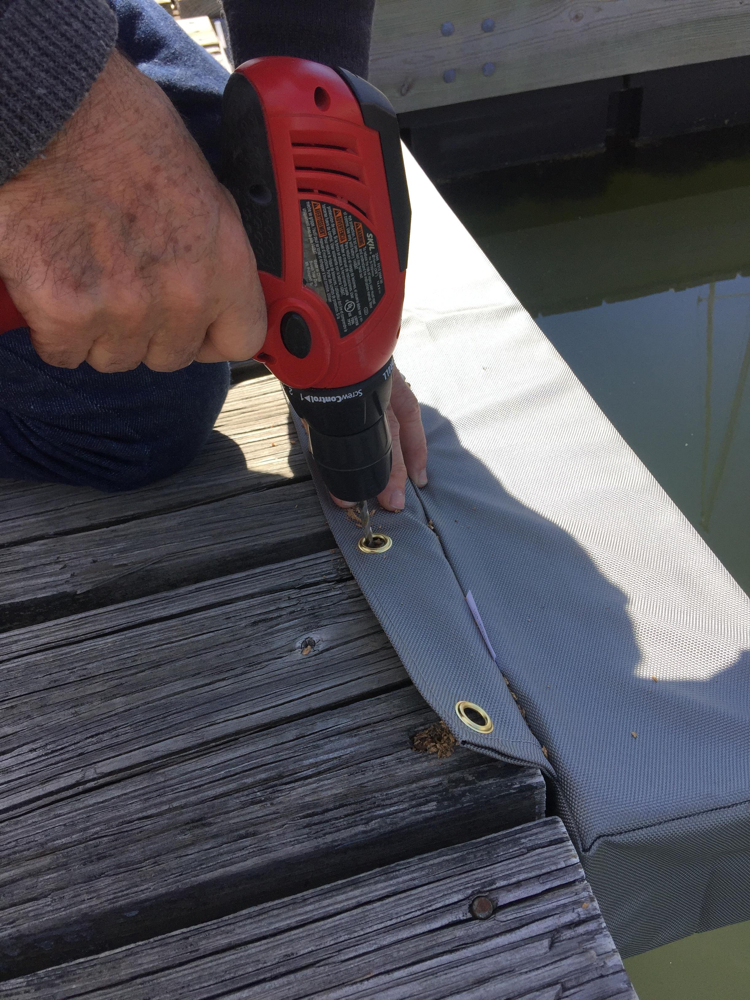 Boat Pillow Dock Fenders Installation Drill Pilot Holes