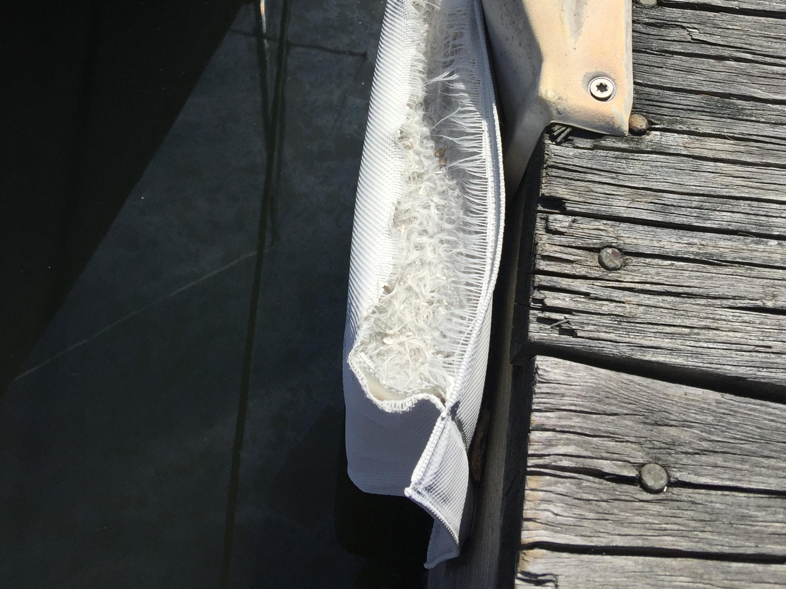Rips exposing poor filling material