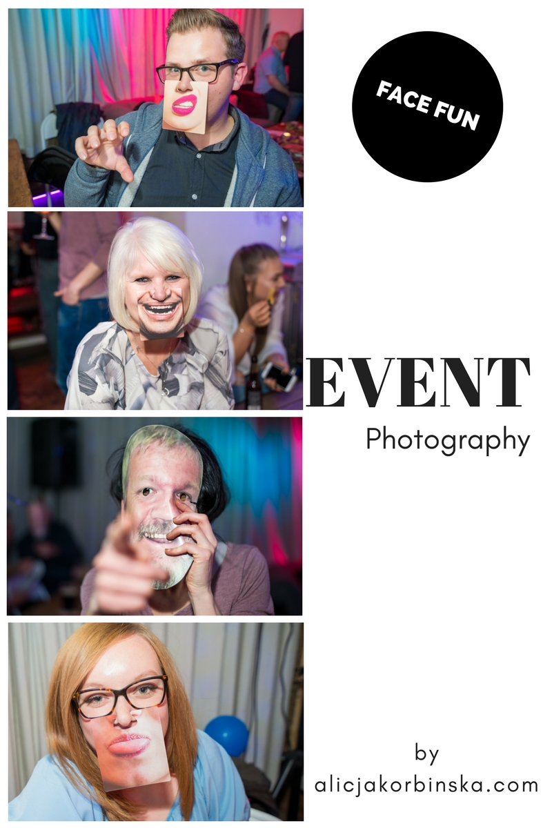 Event photography - candid fun portraits  Order some face masks, mouth mats or other photo booth probs to add some fun to your party and photos. They not too pricey.
