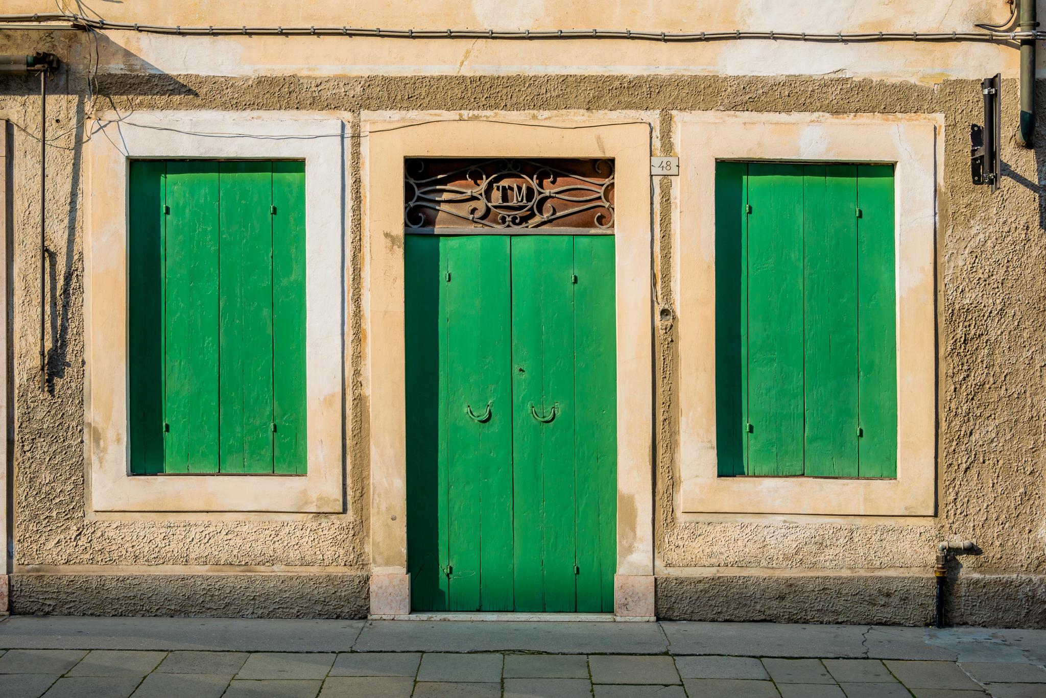 Shutters green in Citadella Italy