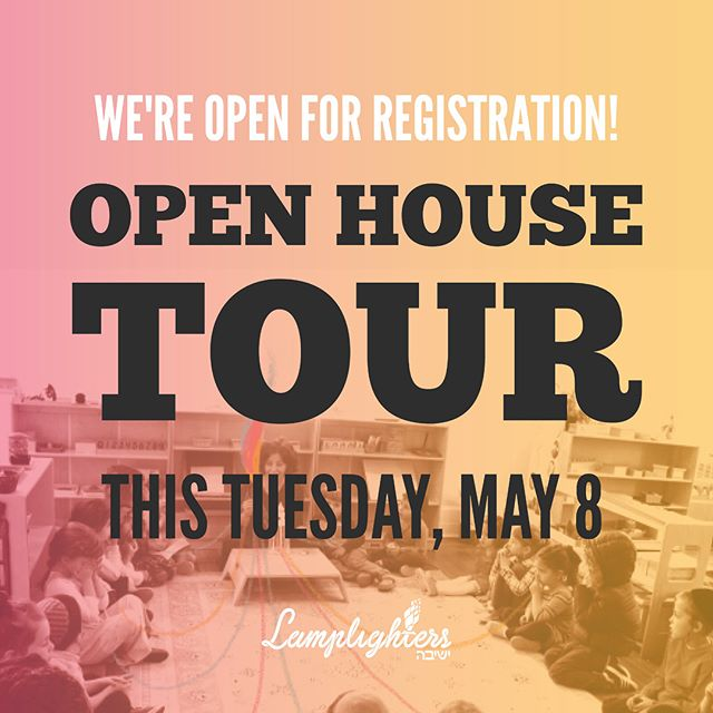 Love our model? Thinking about joining the Lamplighters community? Interested in Lamplighters for your child? The only way to know for sure is to come and see us in action. We're hosting a preschool open house tour this Tuesday— join us! Rsvp by visiting www.lamplightersyeshivah.org/tour