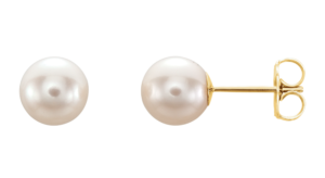 Freshwater Cultured Pearl Earrings. Also available in white gold.