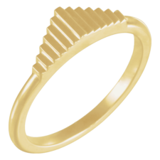 14K Yellow Gold Stackable Geometric Ring