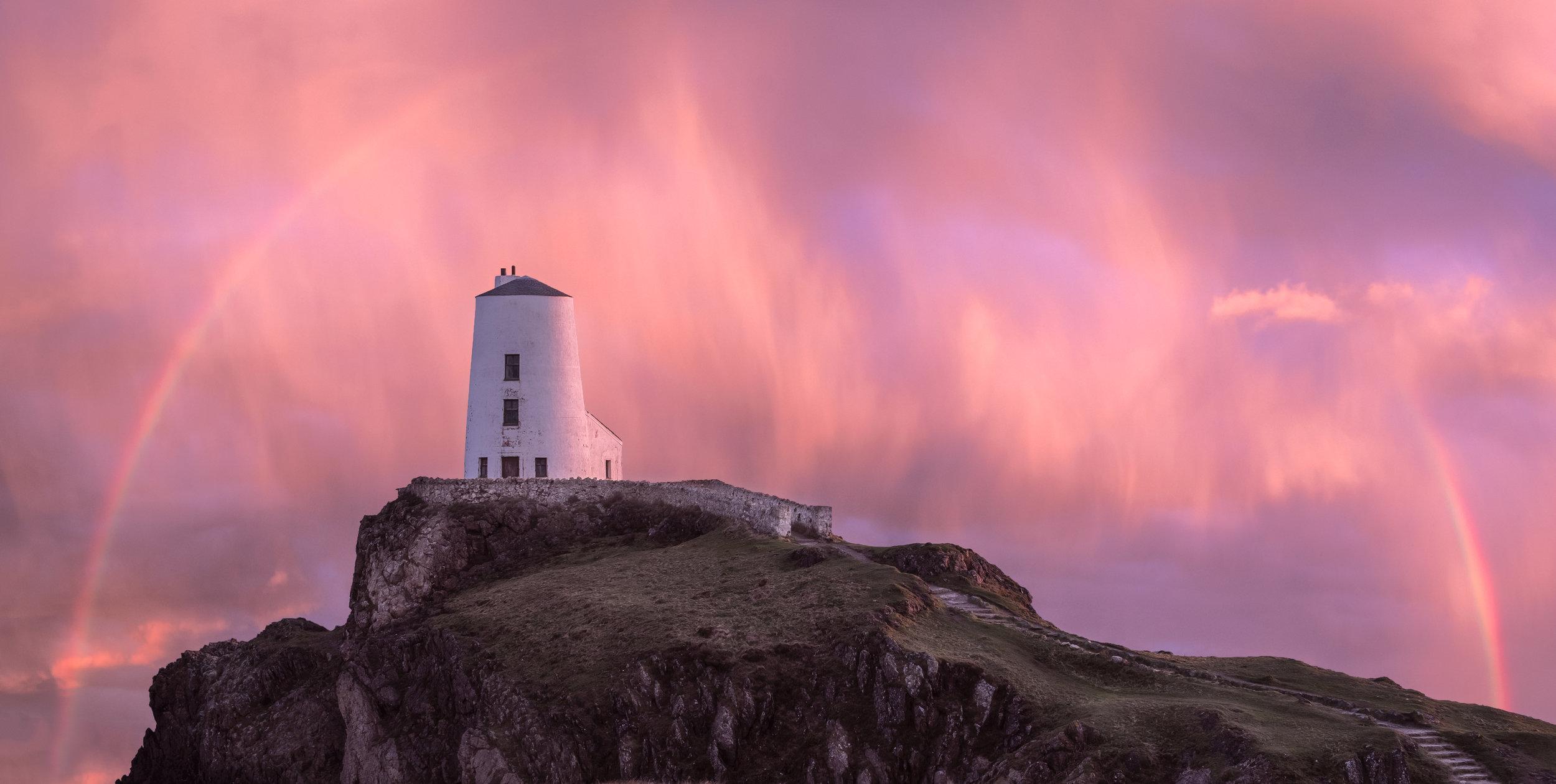 Llanddwyn Island Lighthouse rainbow 1.jpg