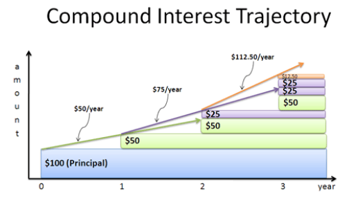 Compound interest produces exponential growth
