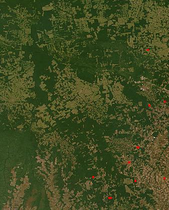 Deforestation in Brazil on NASA satellite image.