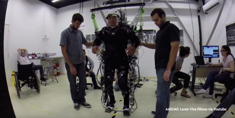 An exoskeleton gifting paralysed people with the ability to walk.