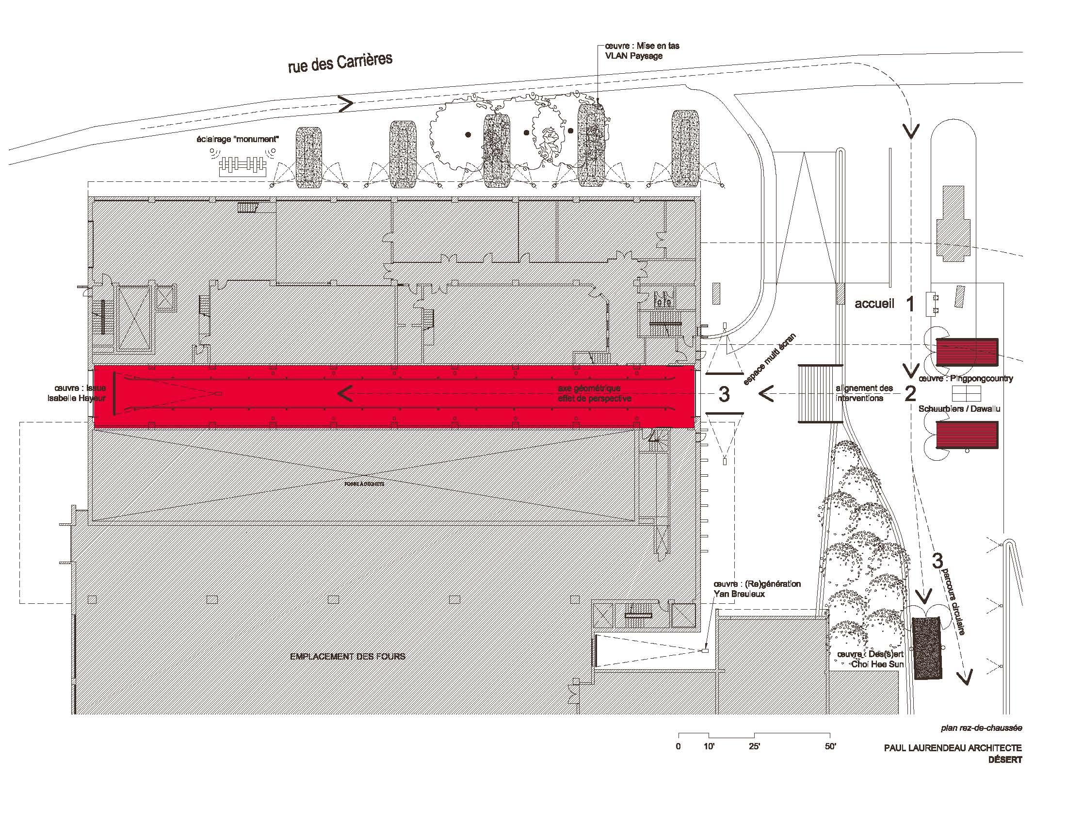 Plan du rez-de-chaussée montrant la sortie des sédiments en rouge et l'œuvre d'Isabelle Hayeur.
