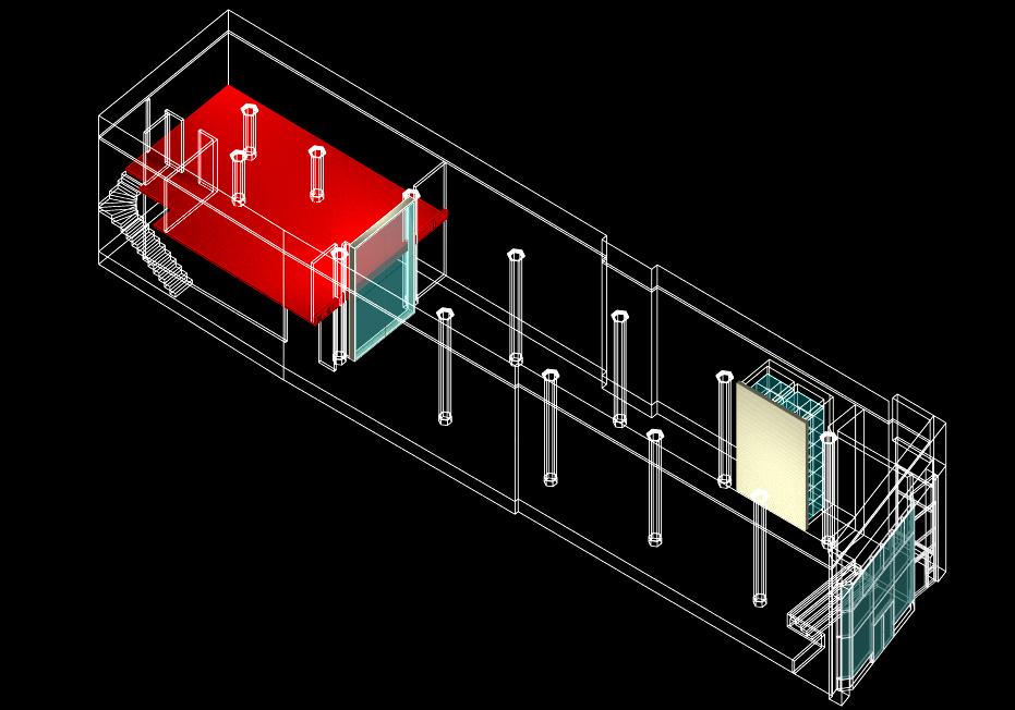 Axonométrie illustrant les 3 éléments du concept architectural.