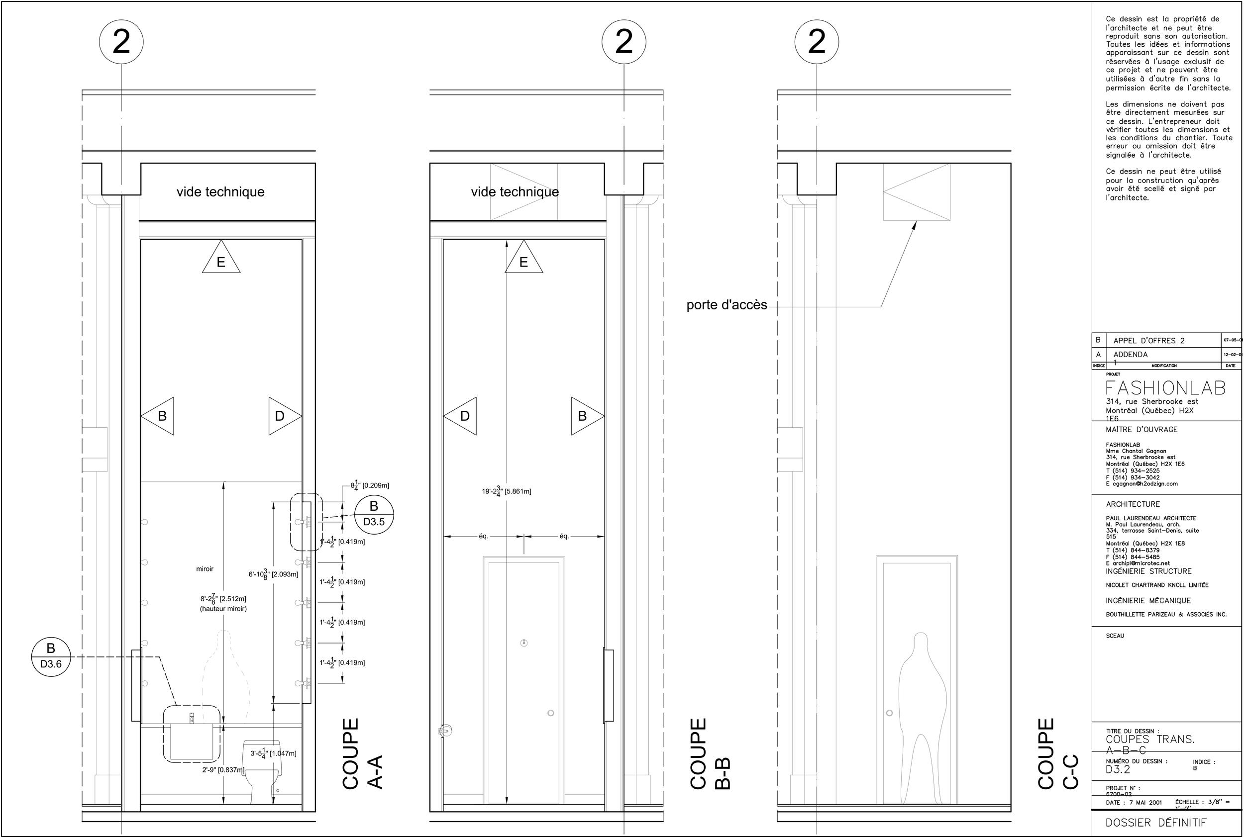 Dessin montrant la hauteur des deux toilettes avec un plafond à 5.9 mètres du plancher.