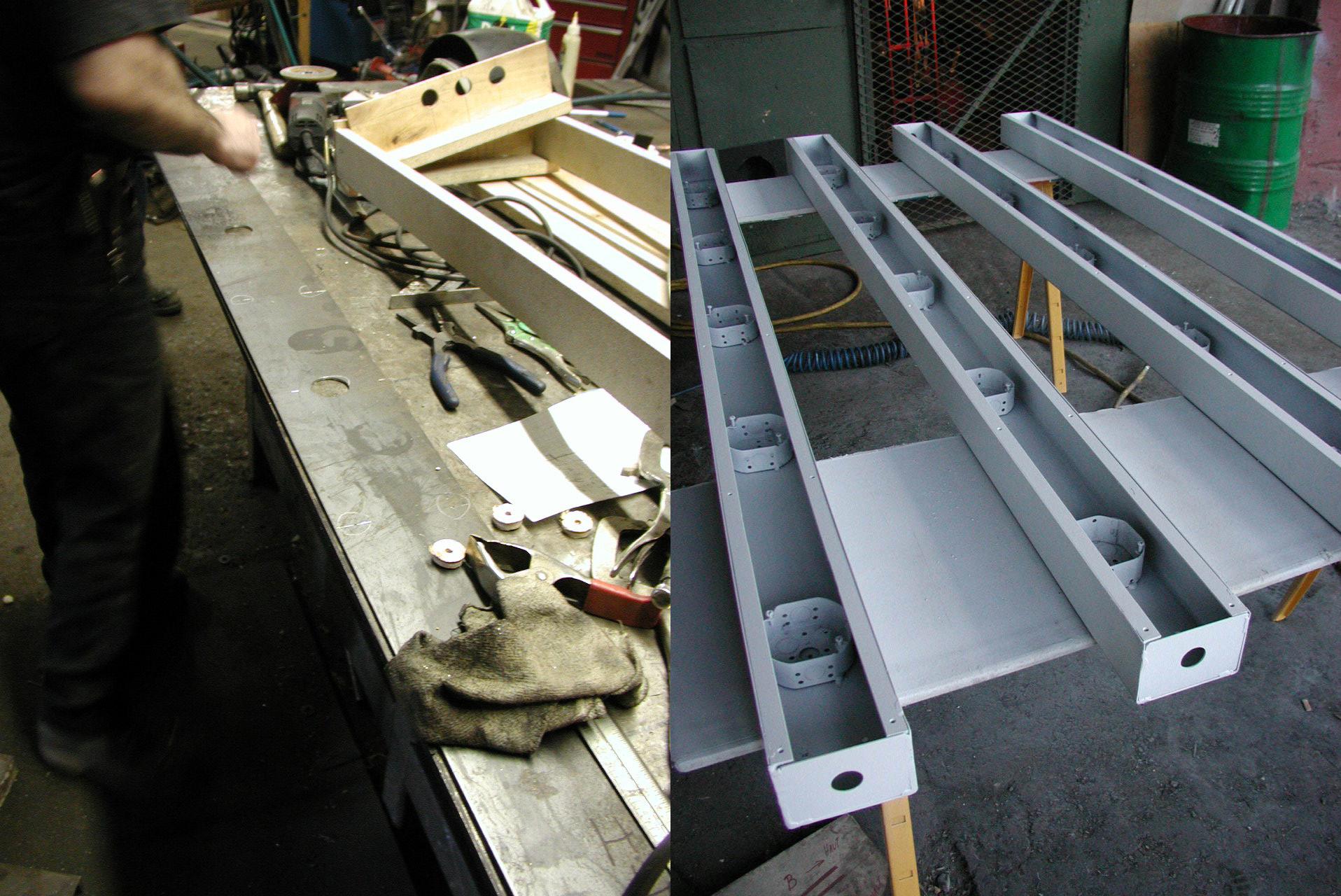 Boîtiers en U et plaques d'acier de surface en fabrication chez Monpetit Inc. Photo chantier © Paul Laurendeau