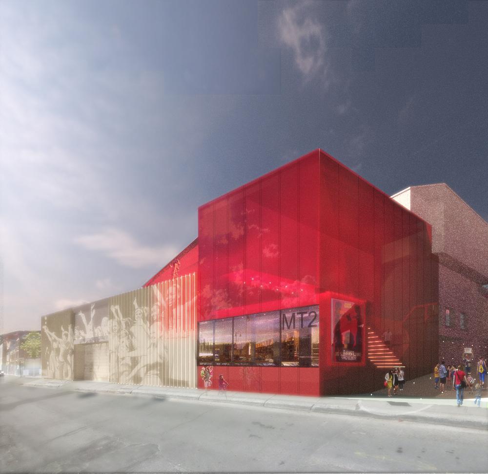 Le nouveau volume en verre rouge translucide signale l'entrée du projet