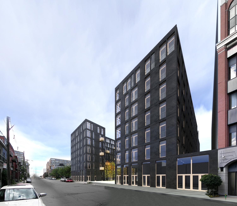 Vue de la façade avant, avenue de Gaspé vers le nord