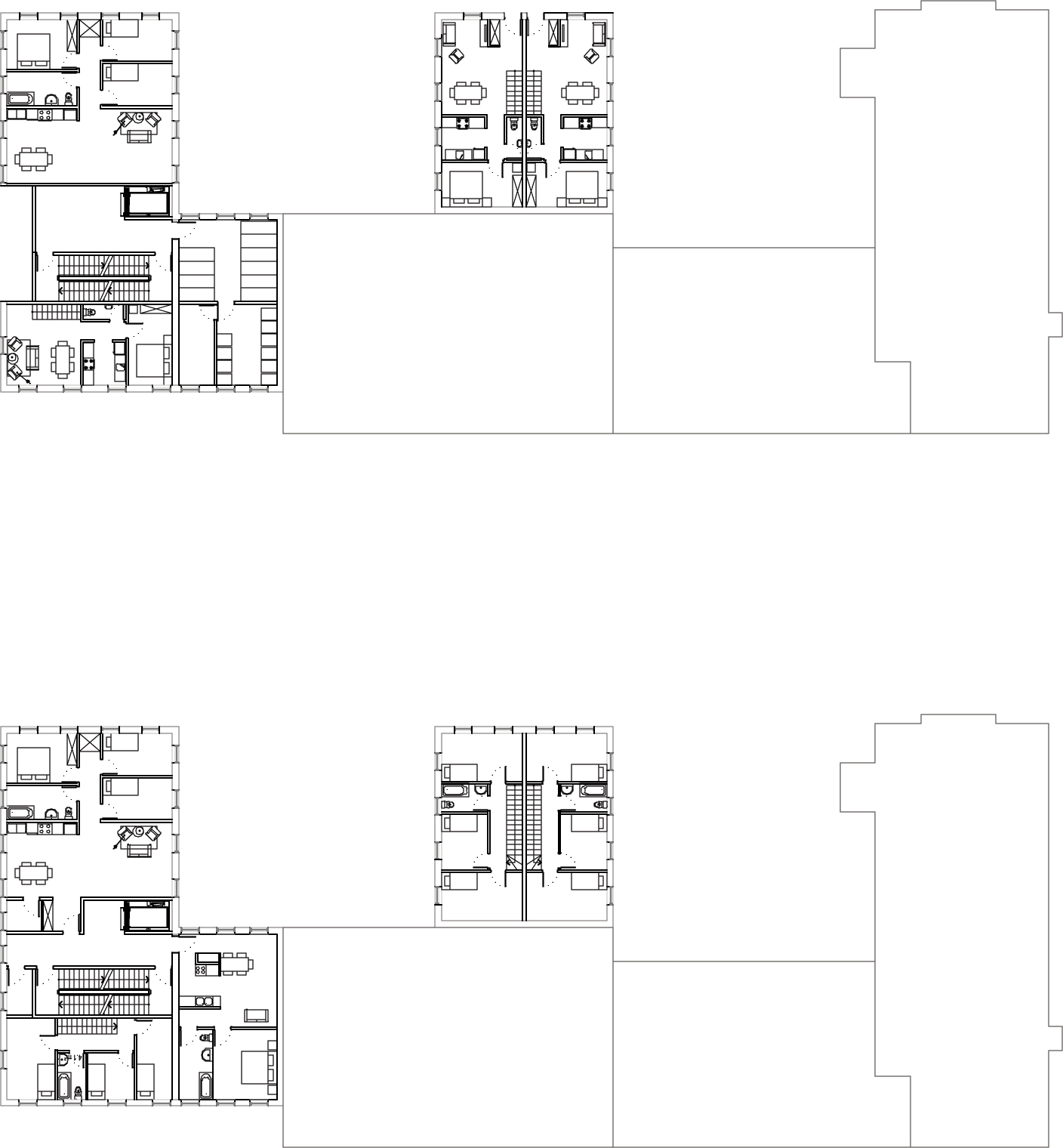 Plan des logements du rez-de-chaussée sur deux niveaux