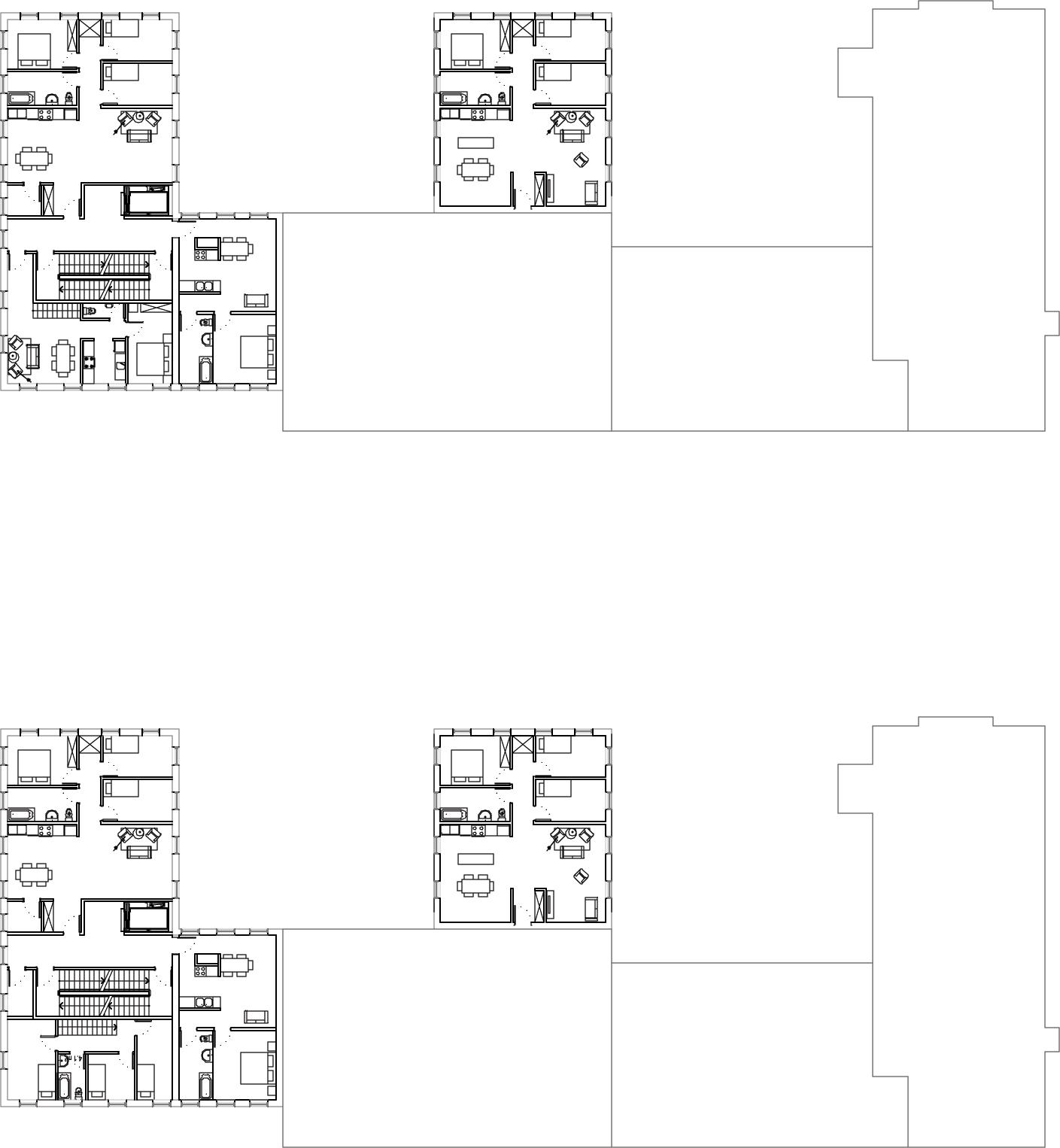 Plan des logements des étages 3, 4, 5 et 6