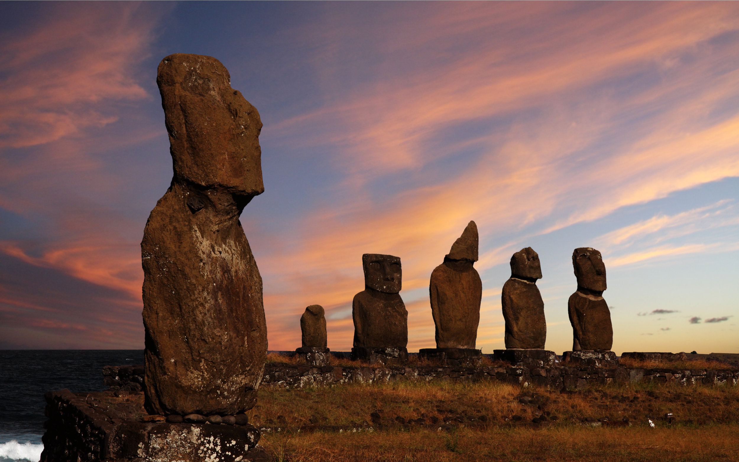 """In Easter island (above) it was believed that the statues moved into the right position using a force called """"Manu"""" a collective intention field created by its """"builders""""."""