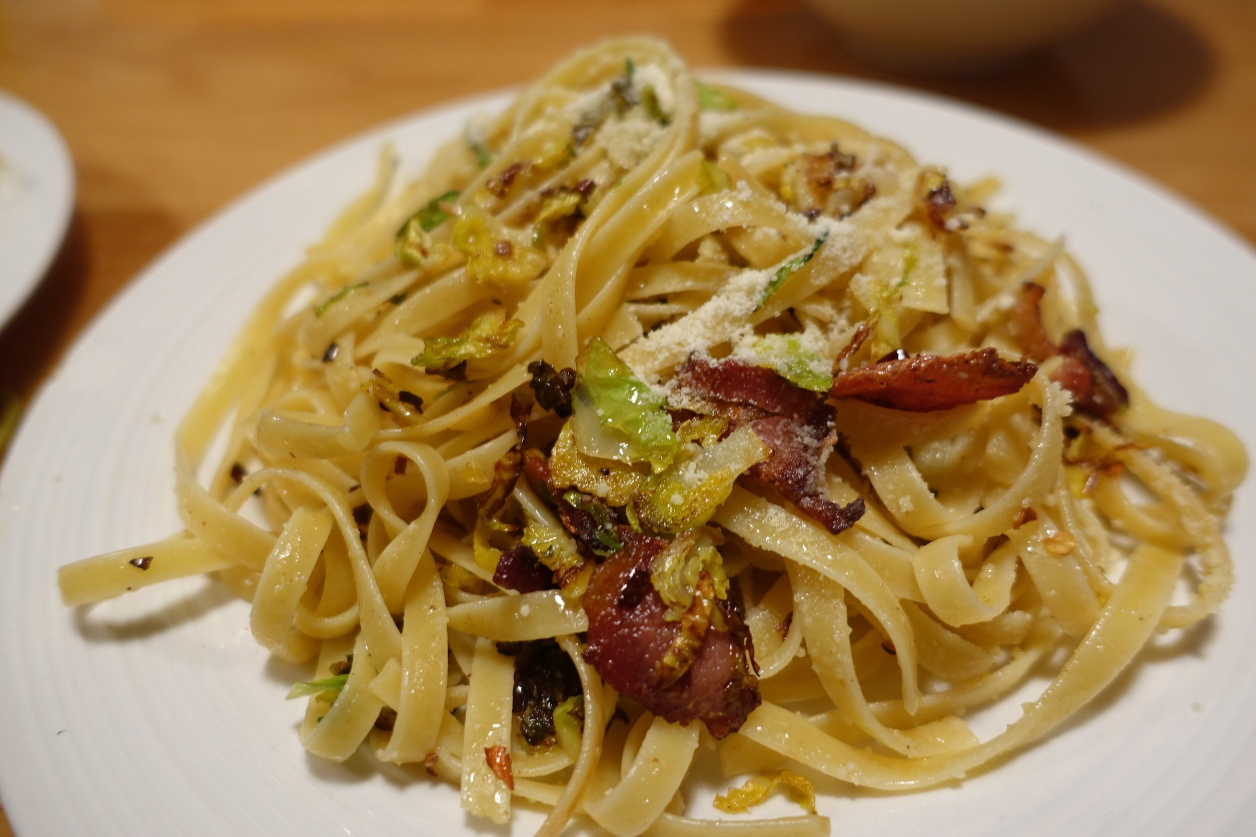 pasta with brussels sprouts and bacon