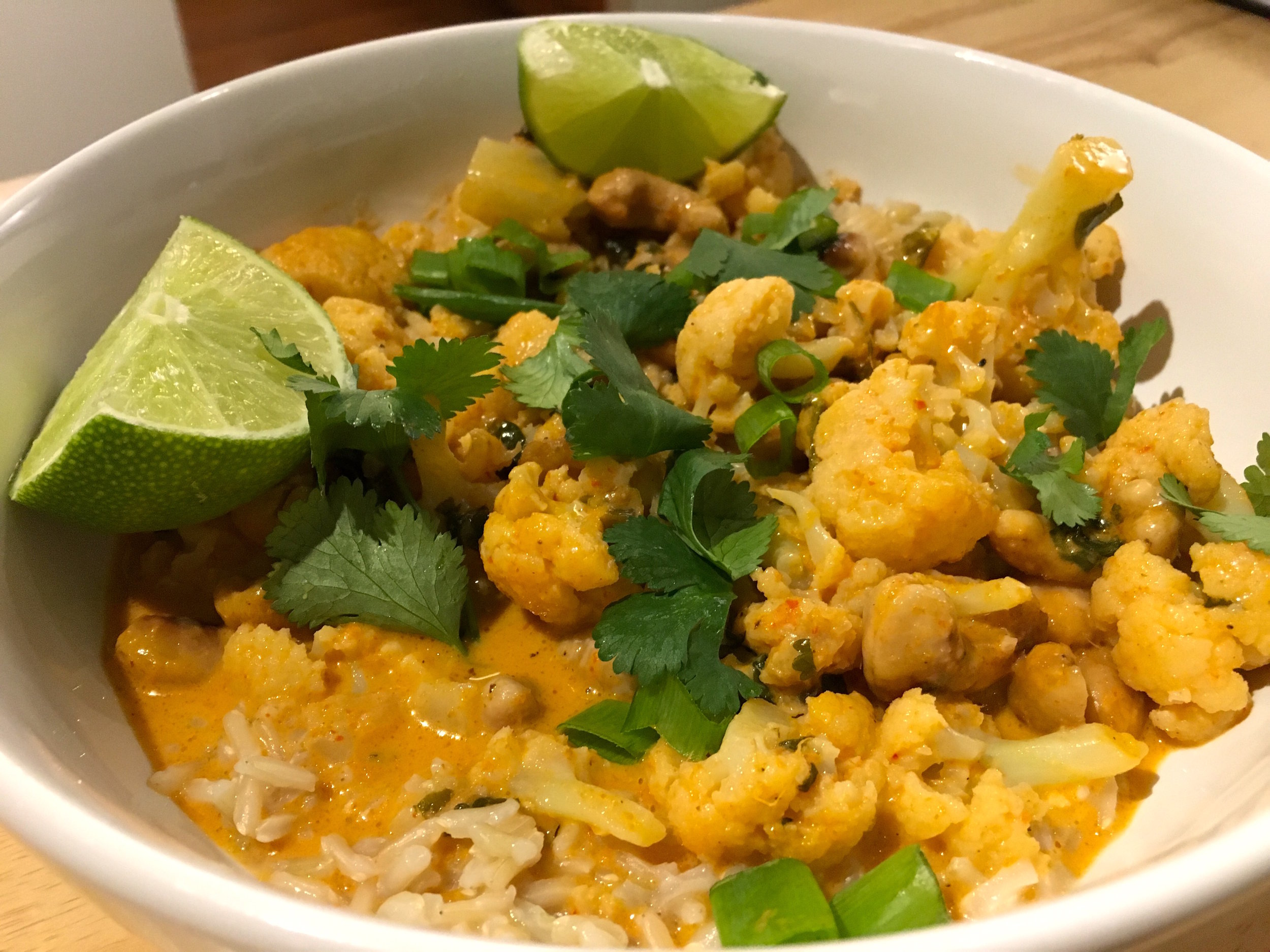 spicy cauliflower curry with fresh lime and cilantro