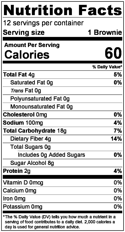 Ingredients: - ZenSweet (Erythritol, Inulin, Monk Fruit Extract), Almond Flour, Tapioca Flour, Cocoa, Coconut Flour, Baking Soda, Sea Salt
