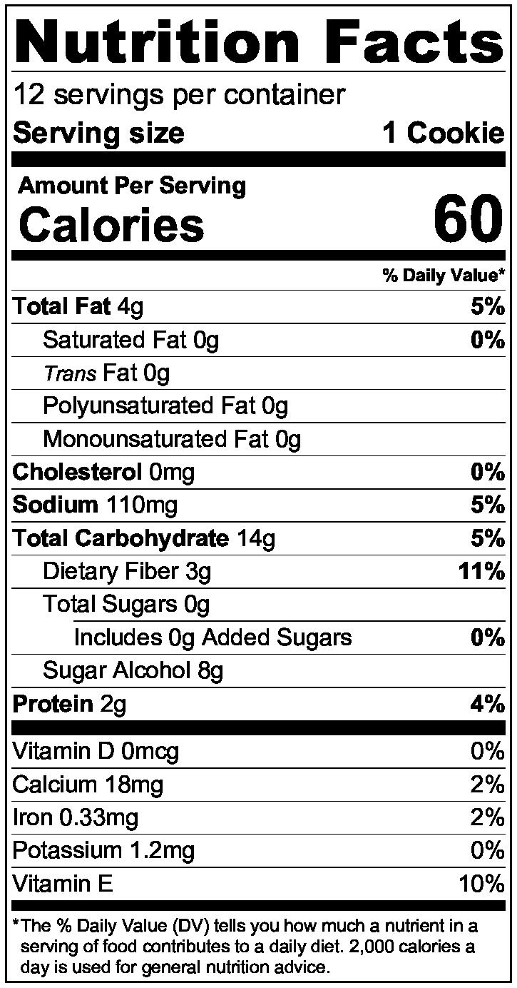 Ingredients:ZenSweet (Erythritol, Inulin, Monk Fruit Extract), Almond Flour, Tapioca Flour, Coconut Flour, Cinnamon, Sea Salt, Baking Soda -