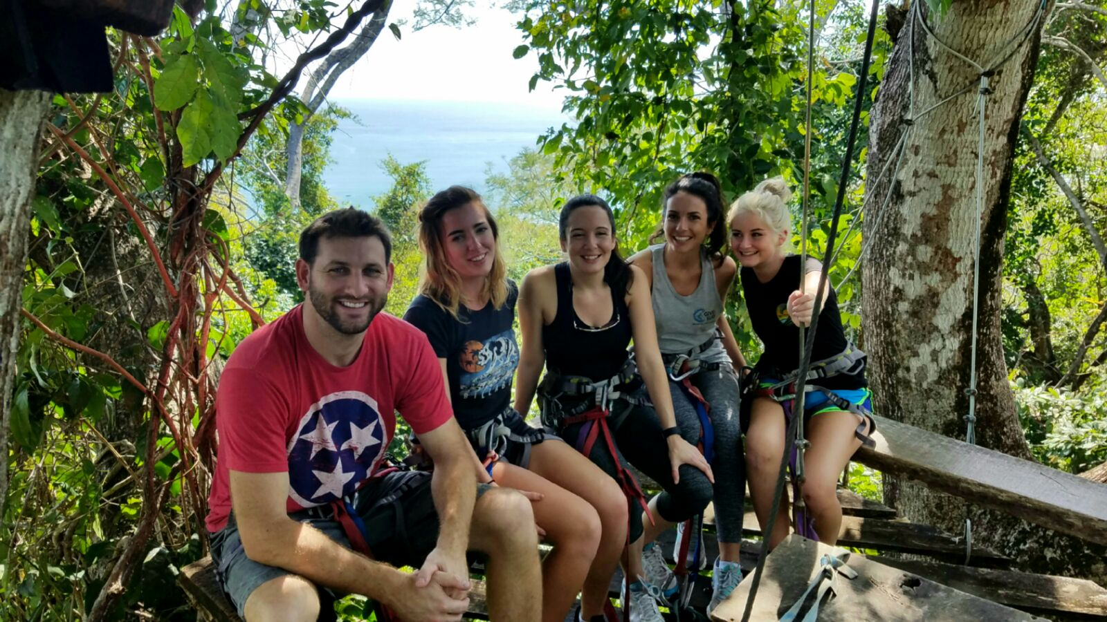 The crew taking a tree-top breather, mid-zip-lining tour (Left to right: Curtis Glover, Hollie Moser, Liz Clapp, Catherine Czerwinski, Cassie Larson)