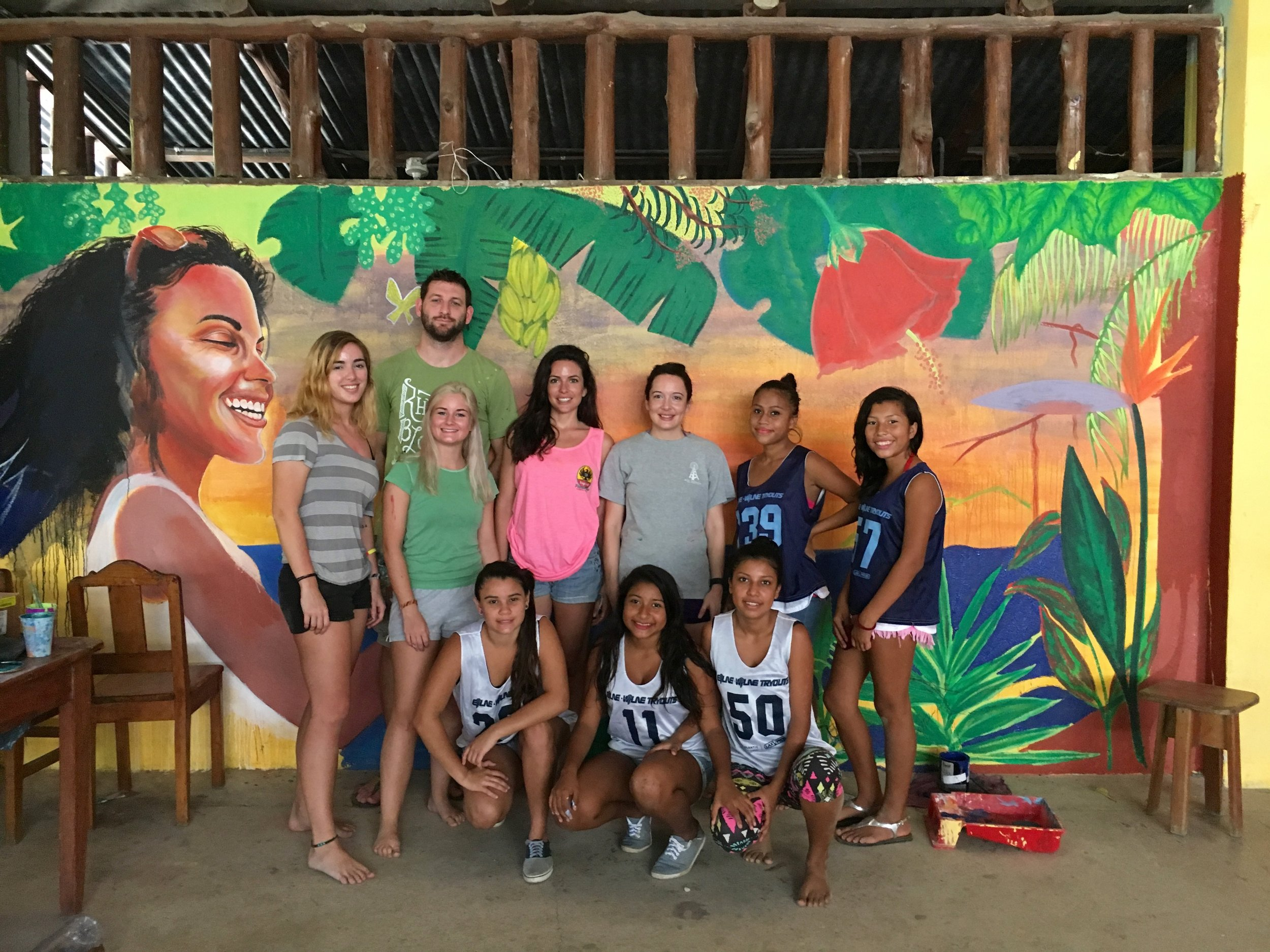 Painting with Associacion CREAR's girls empowerment club