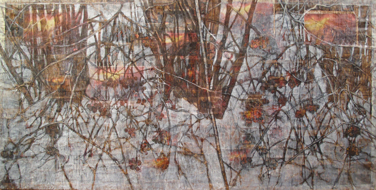 2ac(0)-Fire and Ice (Maidan) -  oil, resins, chalk, print media collage on distressed canvas, 48x96 in. 2015.jpg