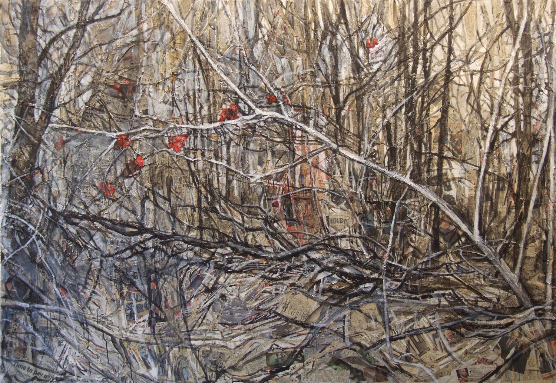 2ai(0)-Scrubland, acrylic, charcoal, shredded print media collage, canvas-64x92 in., 2003.jpg