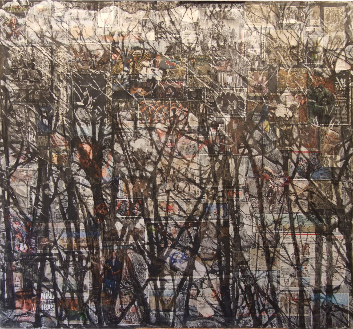 2ak(0)-Hedge-acrylic, charcoal, conte, print media collage on canvas, 60x55 in, 2008.jpg