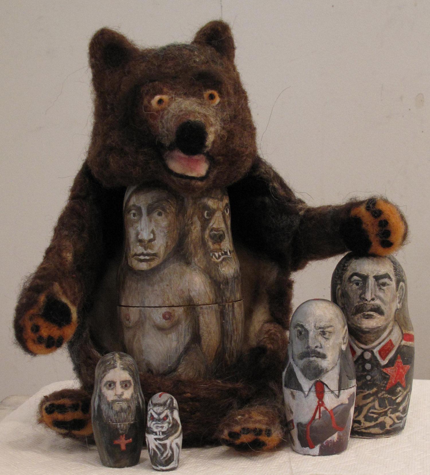 2be(0) - Bear (T)hugs - felted bear by Ann Sandberg, 5 wooden nesting dolls,mm- 10x14x6 in.- 2015.jpg