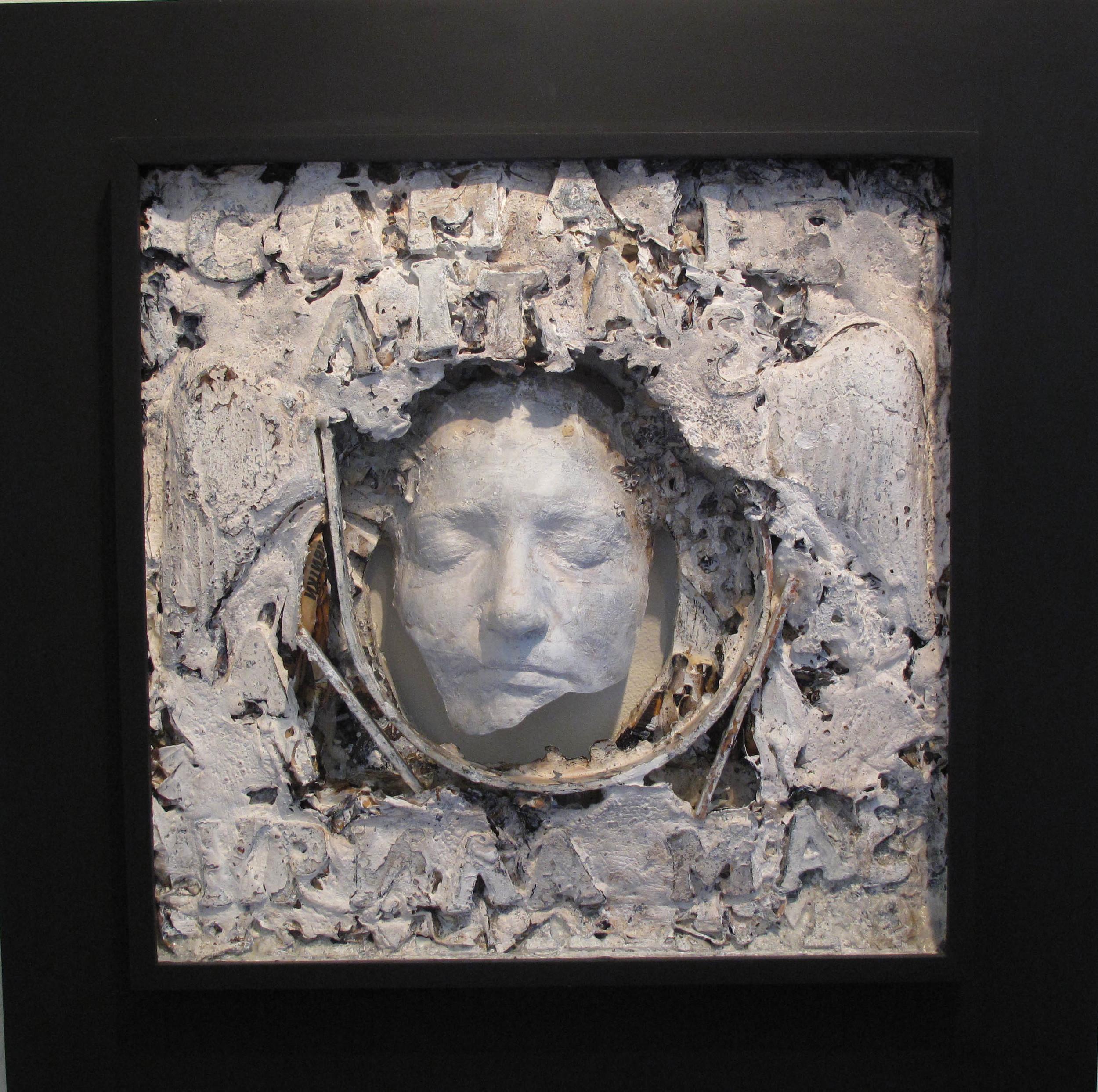 2bi(0) - Winged, clay, gesso, plaster, paper, wood, 22x22x5, 2001.jpg