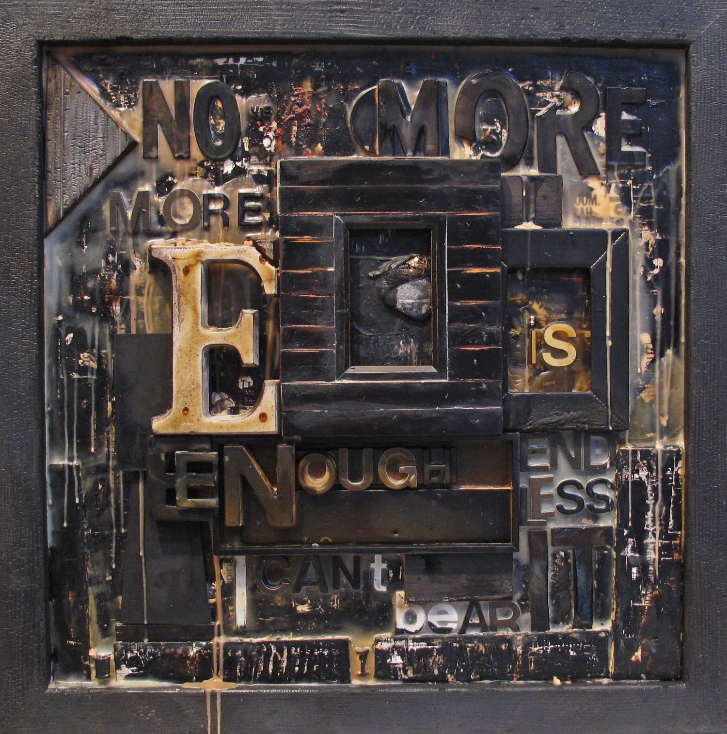2bk(0) - Enough is Enough-wax, resins on torched wood, 22x22x3 in. 2007.jpg