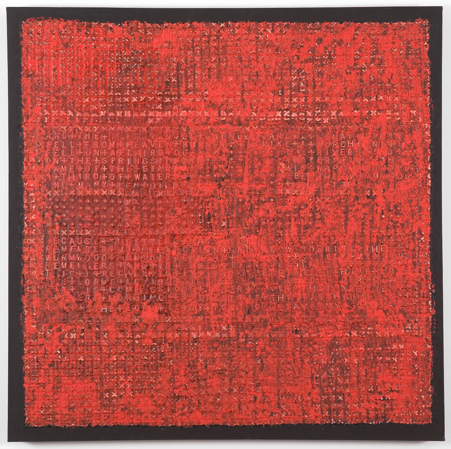 2bm(0)-Foretold - oil, resins, plastic letters on canvas - 54x54 in., 2004.jpg