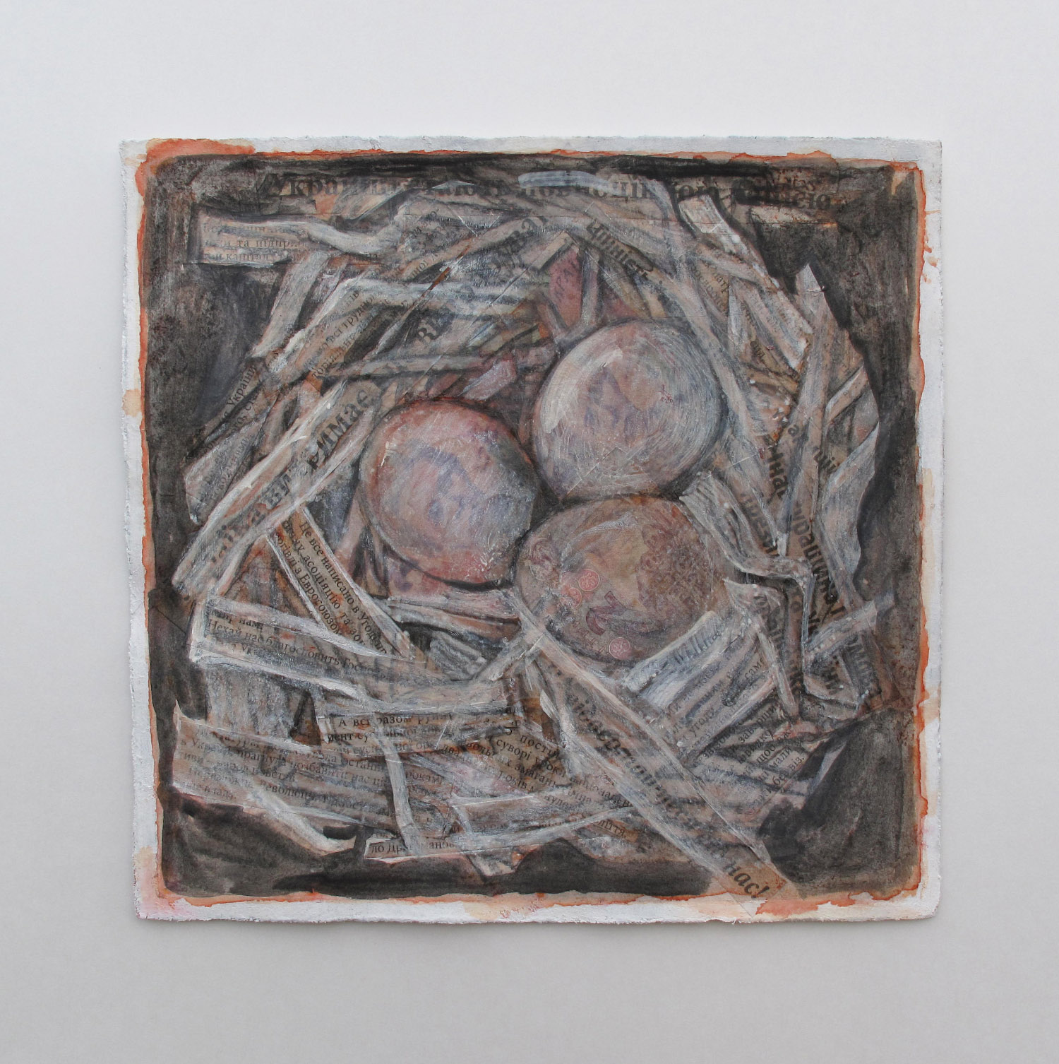 2ch(0) -Words, words, words - egg tempera, collage, paper, 9x9 in. 2014.jpg