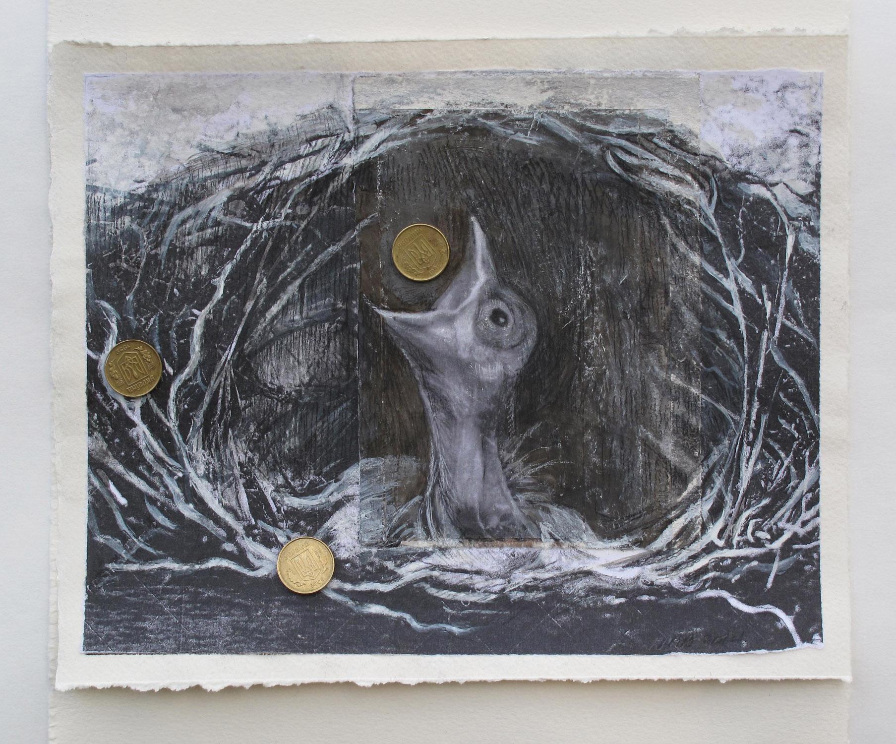 2cj(0) - Holy Hosts- charcoal,  Ukrainian hryvnia- 9x9 in. 2015.jpg