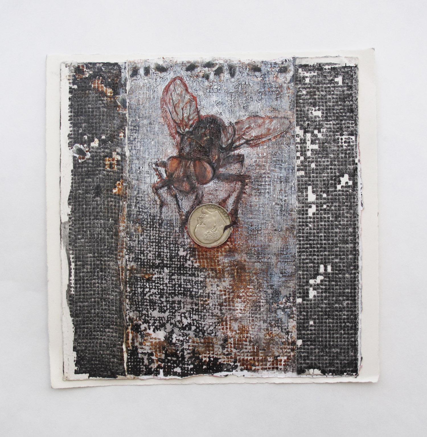 2cc(0) -Fly Eye to Eye-collage, inks, chalks, Soviet coin, paper, 9x9 in 2014.jpg