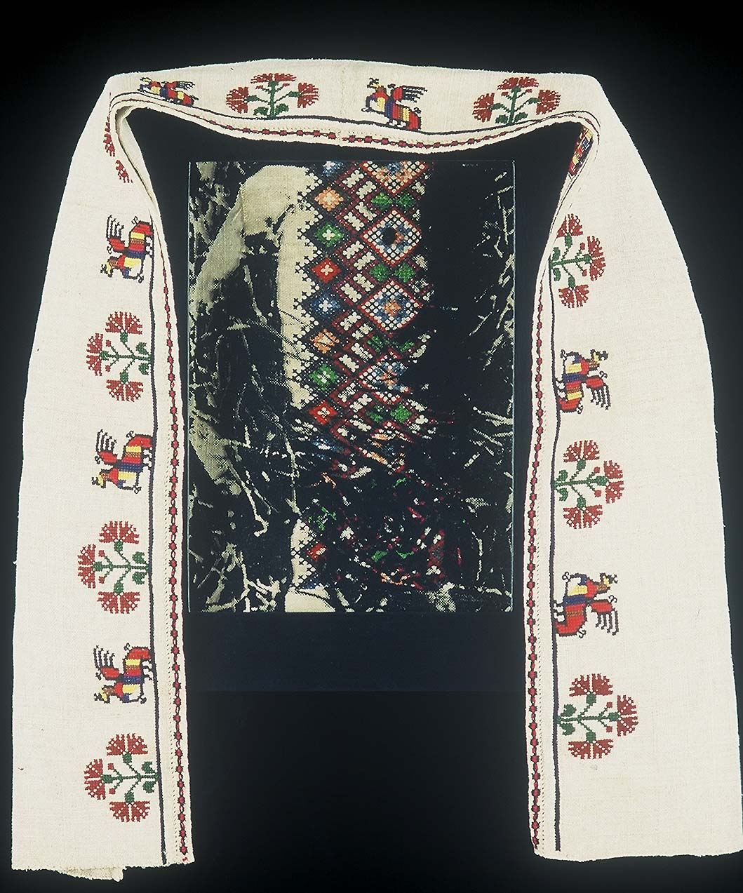 5ab(0) - Another Kind of Icon #1, embroidery, photocopy, wood, 13x10 in., 1995.jpg