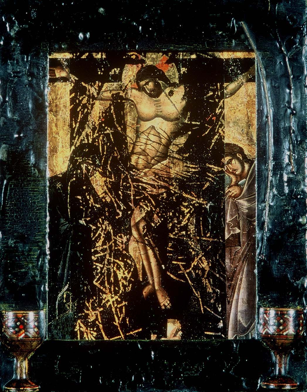 5ad(0) -  Another Kind of Icon #3 - wax, oil, photocopy, wooden chalices - 13x10 in. - 1995.jpg