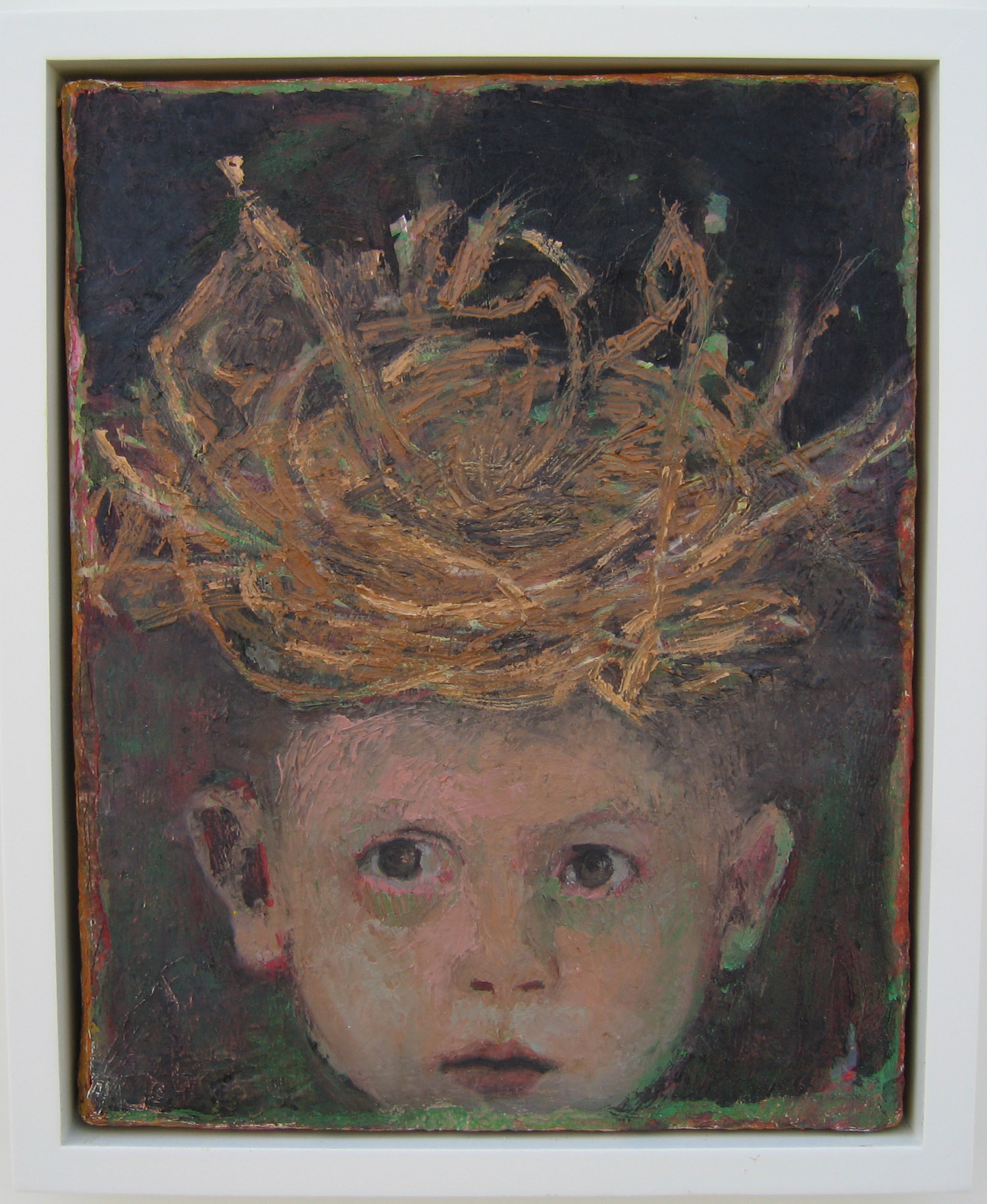 5bd(0) - A Nesting, oil, resins, wax on canvas, 17x15 in. 2006.jpg